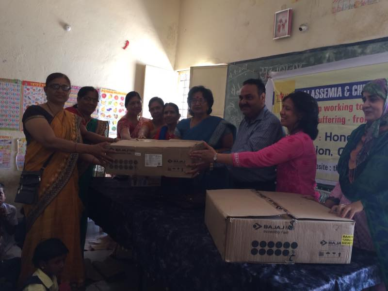 Thalassemia Adopted School . Donated ten ceiling fans to school adored by TCWG, general knowledge guestion answer event for students, prizes to winners , chief guest mr Anil Soni, Pushpa Agrawal sandhya Panchayati Chandrakanta jain purnima raut firdose Nahid & staff of school attended program.