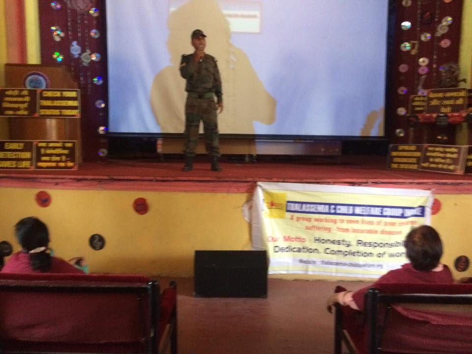 Thalassemia awareness event in NCC camp Mhow . All cadets decided to go for blood test to know their thalassemia status before marriage .a carrier should not marry another carrier .only prevention is better than cure